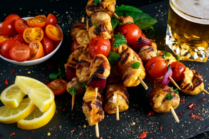 Marinated chicken skewers