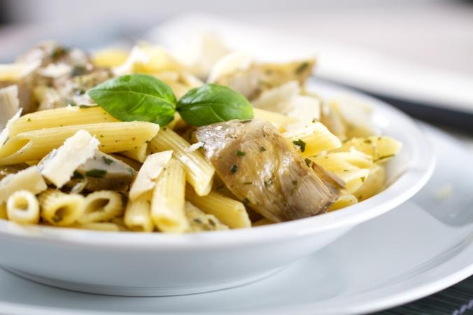 Artichoke pasta dish