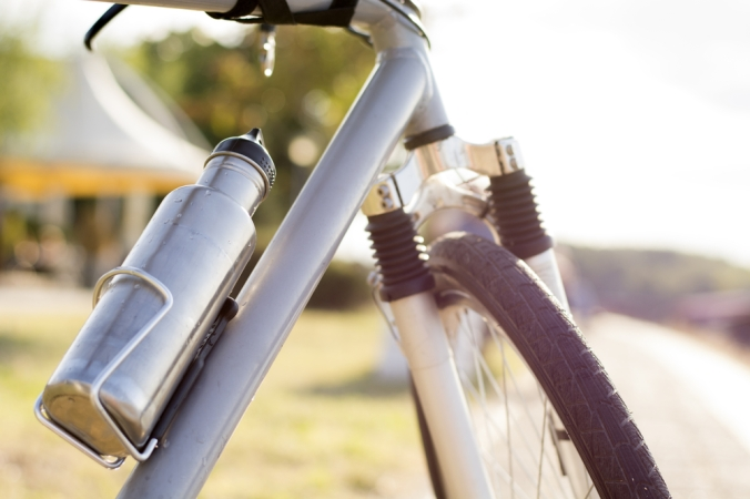 Close up of a bike's water bottle in situ