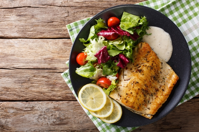 Trout fish fillet with salad