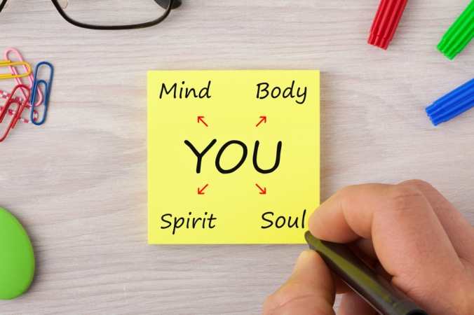 A post it showing mind, body, soul and spirit being important in self care