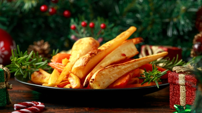 A bowl of roast parsnips