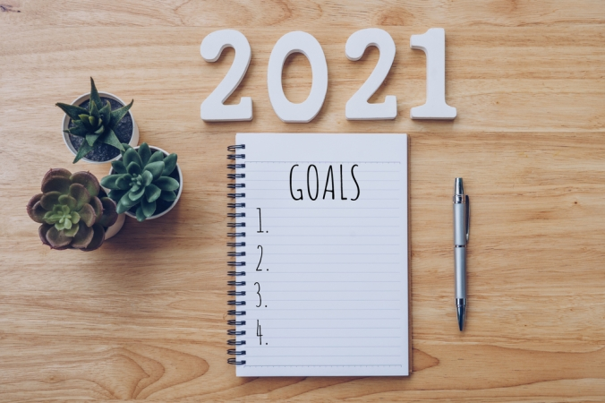 A note book with 2021 goals list