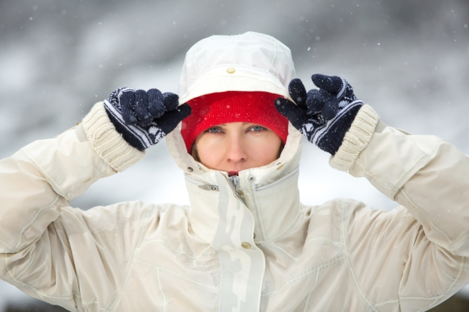 Woman in winter gear on a walk