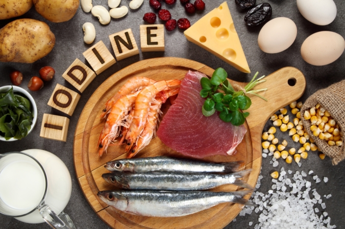 A range of foods containing iodine