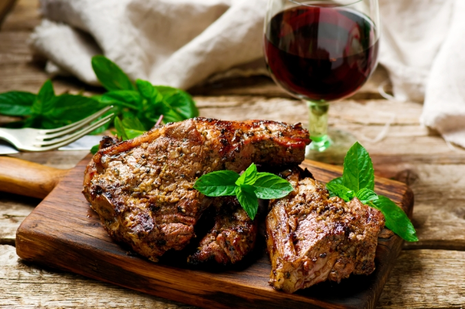 Grilled,Lamb,Chops,Marinated,With,Mint,.style,Rustic.,Selective,Focus