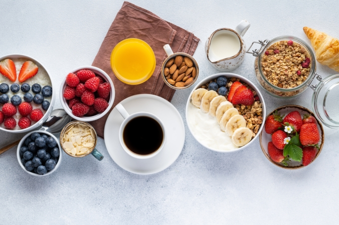 Healthy,Breakfast,Set,On,Grey,Background.,The,Concept,Of,Delicious