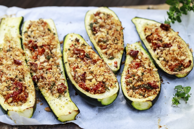 Courgettes,Stuffed,With,Breadcrumbs,,Pine,Nuts,,Sun,Dried,Tomatoes,And