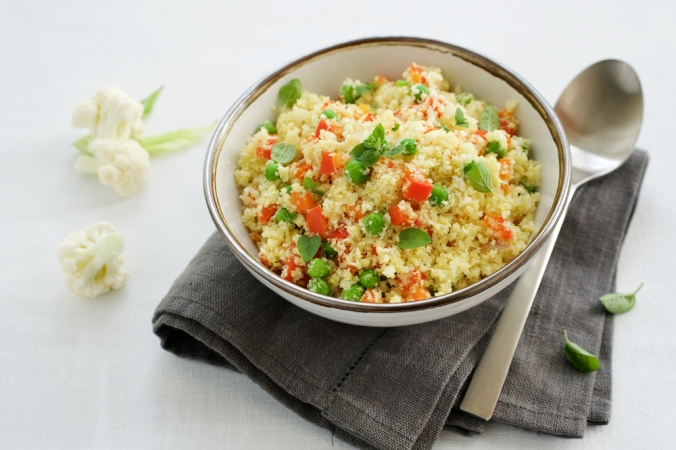 Cauliflower,Rice,With,Vegetables,In,Bowl,On,White,Background.,Paleo