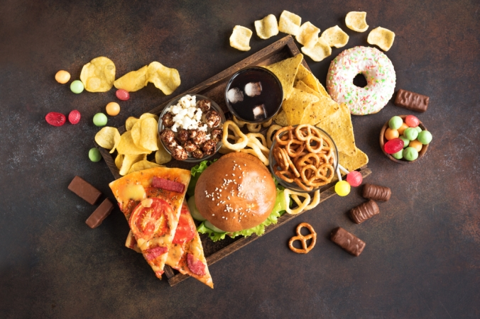 Assortment,Of,Unhealthy,Food,,Top,View,,Copy,Space.,Unhealthy,Eating,
