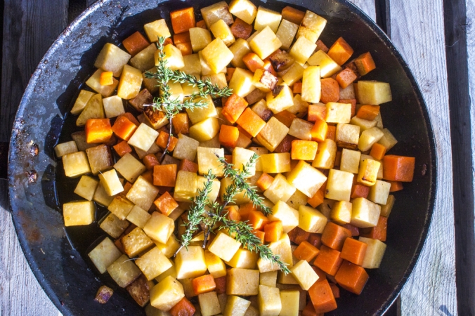 Fried,Dices,Of,Carrot,And,Swede,,In,A,Pan,+