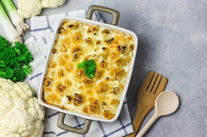 Loaded,Vegetable,Casserole,With,Broccoli,,Cauliflower,And,Leek.,Top,View,